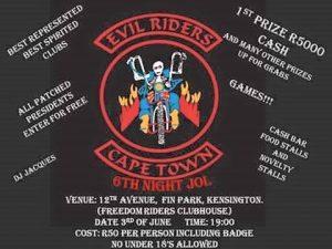 EVIL RIDERS MCC 6TH NIGHT JOL @ 12TH AVENUE, KENSINGTON, CAPE TOWN