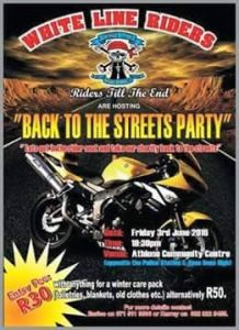 """WHITE LINE RIDERS """"TAKE IT BACK TO THE STREETS CHARITY DRIVE"""" @ ATHLONE COMMUNITY CENTRE"""
