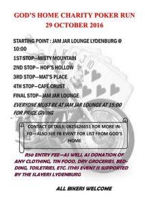 God's Home Charity Poker Run @ Jam Jar Lounge Lydenburg