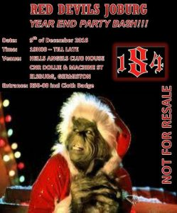 Red Devils Joburg Year End Party Bash @ Hells Angels Club House