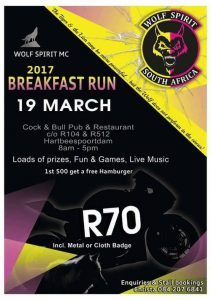 Wolf Spirit Mc Breakfast Run @ Cock & Bull Pub & Restaurant
