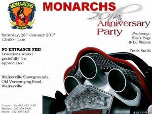 Monarchs 20th Anniversary Party @ Walkerville Showgrounds, Old Vereeniging rd, Walkerville