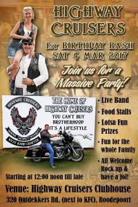 HIGHWAYS CRUISERS 1ST BIRTHDAY BASH @ HIGHWAY CRUISERS CLUBHOUSE | Roodepoort | Gauteng | South Africa