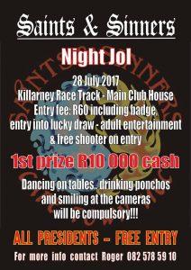 Saints & Sinners Will Be Hosting Their Annual Nite Jol...(Devils & Angels) @ Killarney International Raceway | Cape Town | Western Cape | South Africa