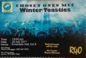 CHOSEN ONES MCC ANNUAL WINTER CHARITY TOASTIES @ Extension 9 Hall | Ennerdale | Gauteng | South Africa