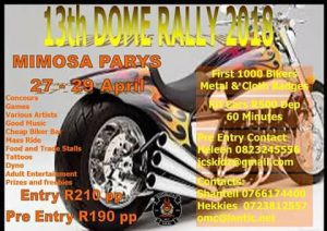 13th DOME RALLY 2018 @ MIMOSA PARYS  | Parys | Free State | South Africa