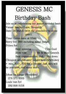 GENESIS MC BIRTHDAY BASH @ INNIBOS LAPA    Despatch   Eastern Cape   South Africa