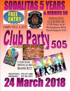 CLUB PARTY 505 @ SODALITAS CLUB HOUSE    Vanderbijlpark   Gauteng   South Africa