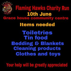 FLAMING HAWKS CHARITY RUN @ GRACE HOUSE COMMUNITY CENTRE