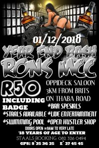 YEAR END BASH RONS MCC @ Oppideck Saloon | Brits | North West | South Africa