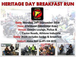 Heritage Day Breakfast Run @ Gemini Lounge  | Cape Town | Western Cape | South Africa