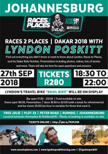 Races to Places - Global Motorcycle Adventures and Racing with Lyndon Poskitt @ Tres Jolie | Roodepoort | Gauteng | South Africa