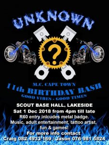 Unknown M.C Cape Town 11th Birthday Bash @ Scout Base Hall  | Cape Town | Western Cape | South Africa