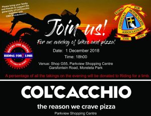 CMA Bikes and Pizza @ COL'CACCHIO | Pretoria | Gauteng | South Africa