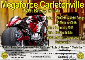 Megaforce Carletonville 27th BDay Bash 2019 @ MEgaforce MC Carletonville